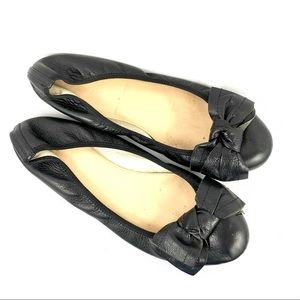 J. Crew Black Leather Ballet Flat with Bow Sz 9.5